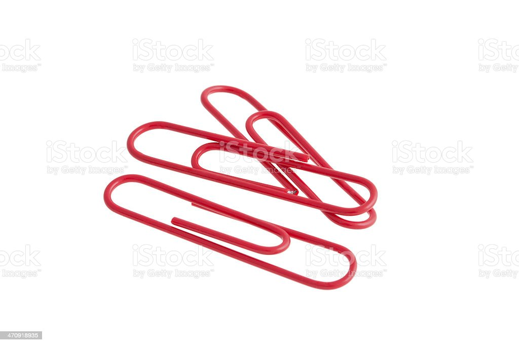 Red paper clips isolated on white background royalty-free stock photo