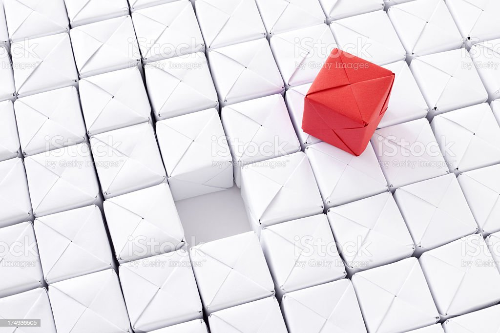 Red paper cube royalty-free stock photo
