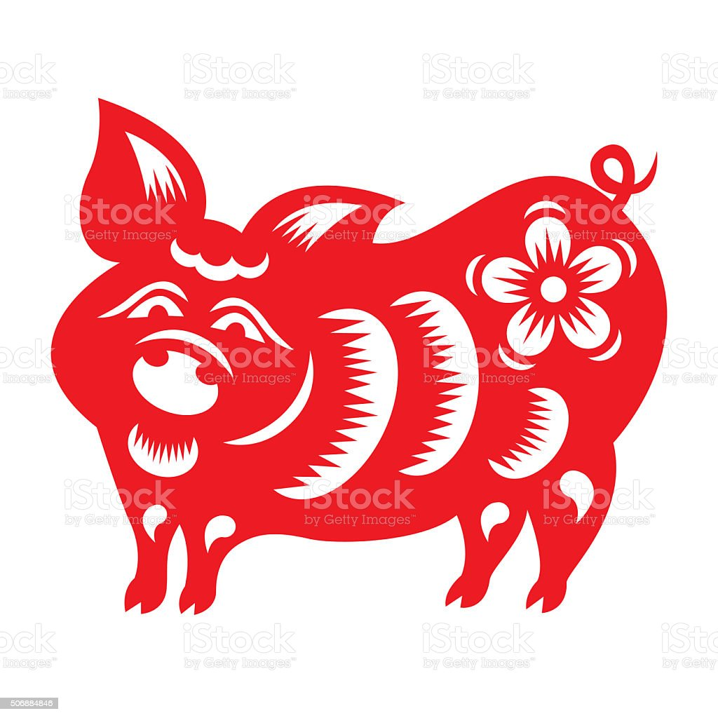 Red paper cut a pig zodiac symbols stock photo