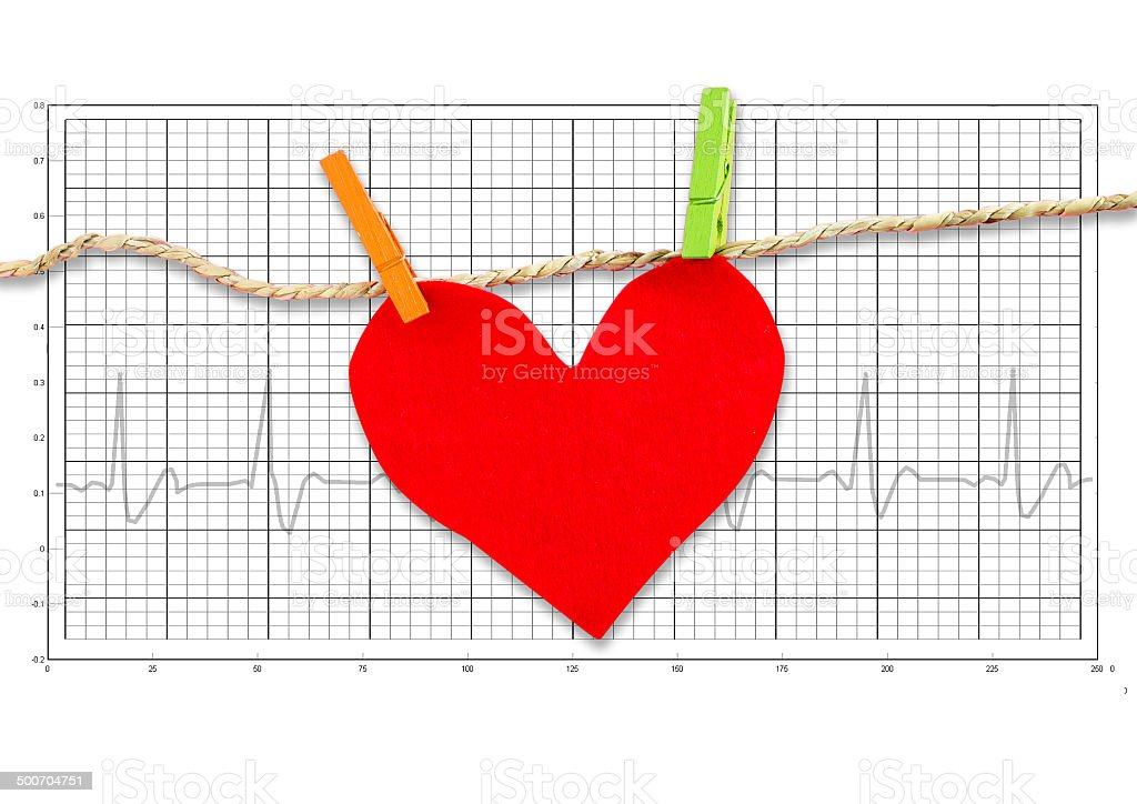 Red paper heart hanging on the clothesline on  electrocardiogram stock photo