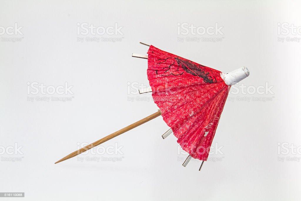 Red paper umbrella stock photo