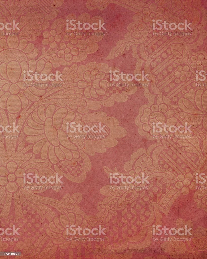 red paper with antique floral pattern royalty-free stock photo