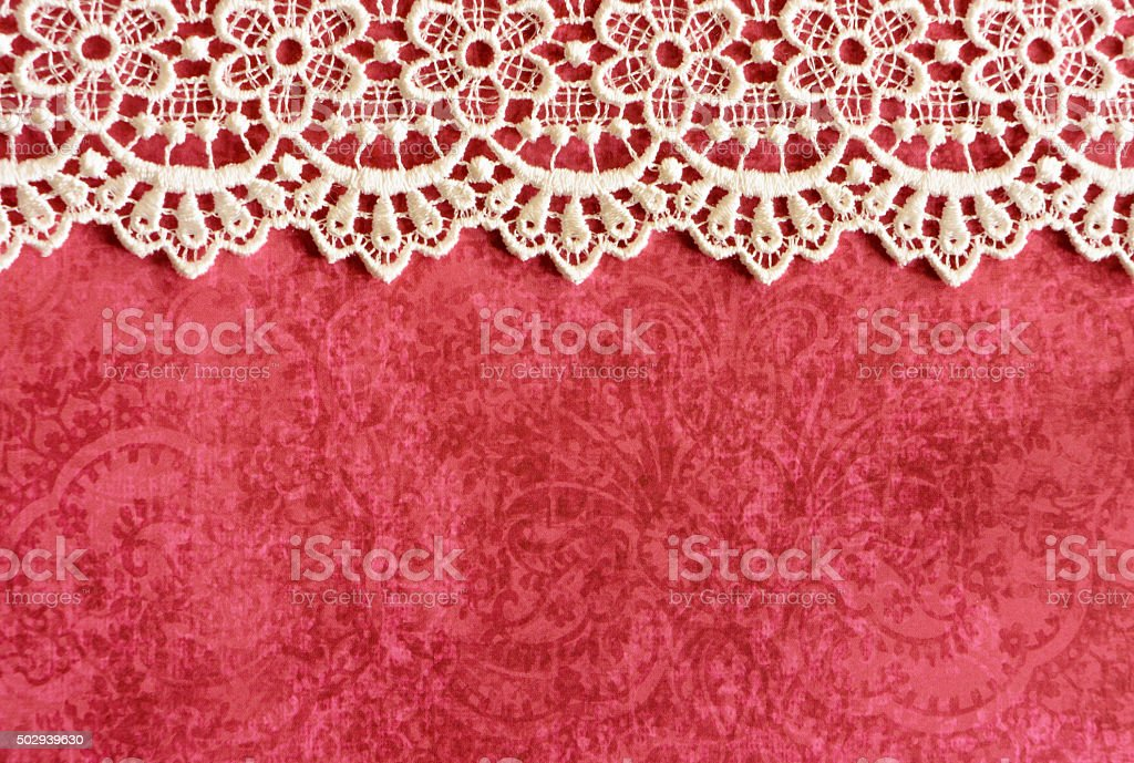 Red Paper with White Lace Border stock photo