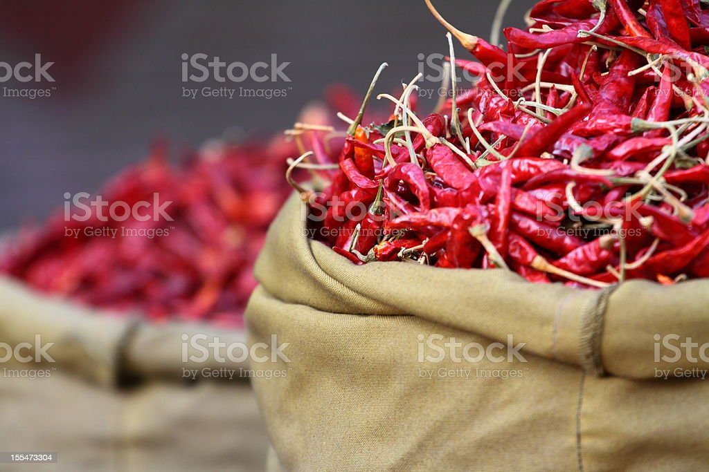 Red paprica in traditional market royalty-free stock photo