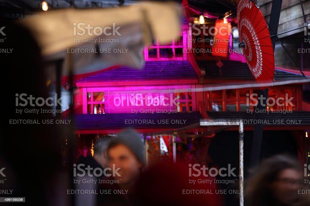 Red parasol at Camden Market stock photo