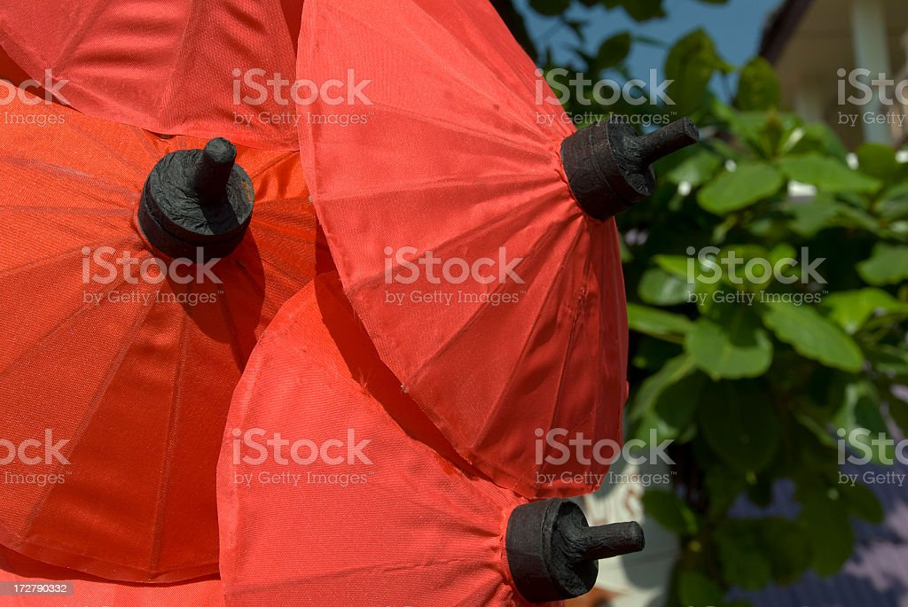 Red Parasols stock photo