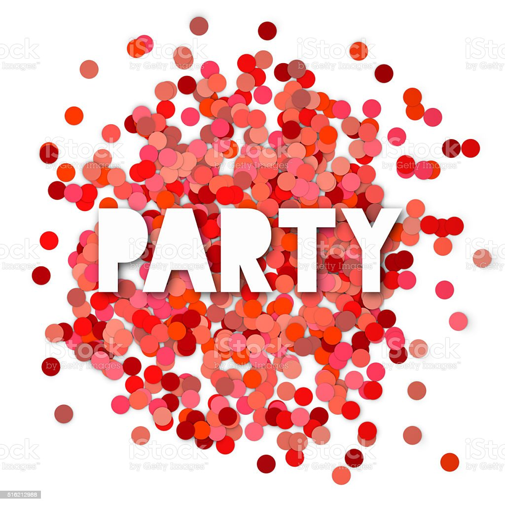 Red party confetti background stock photo