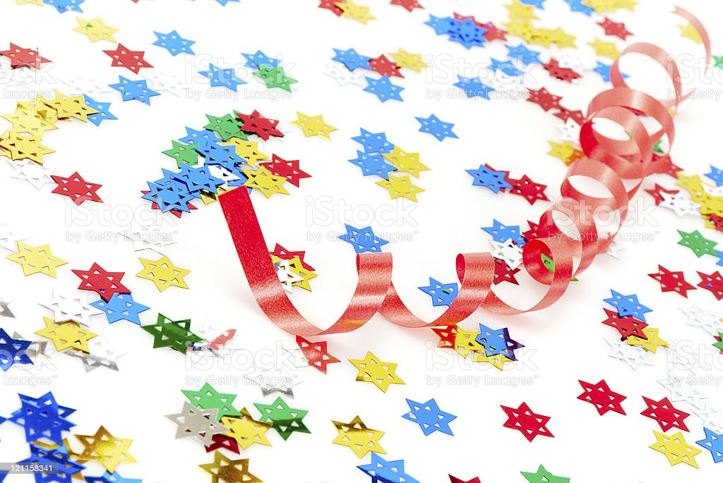 Red party ribbon and confetti royalty-free stock photo