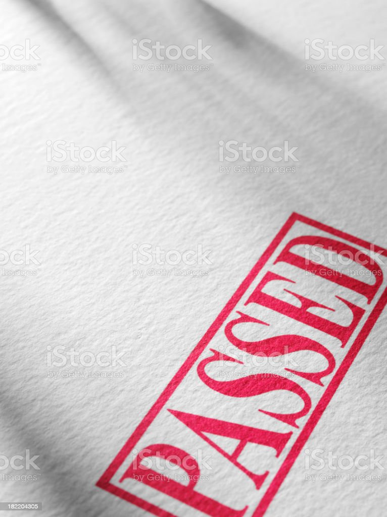 Red Passed Stamped on Textured Paper royalty-free stock photo