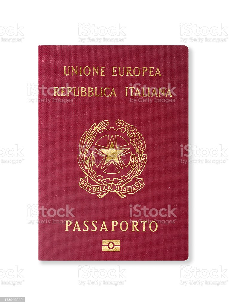Red passport of an Italian citizen on a white background stock photo