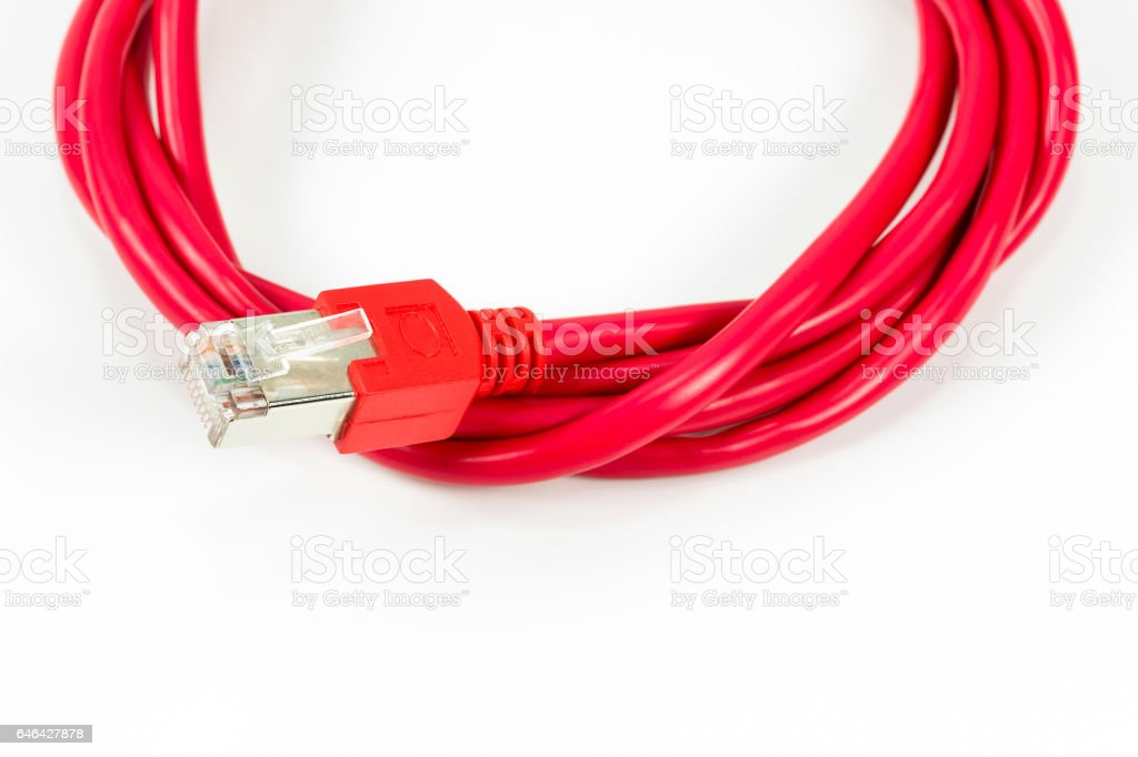 red patch cable with RJ45 connector stock photo