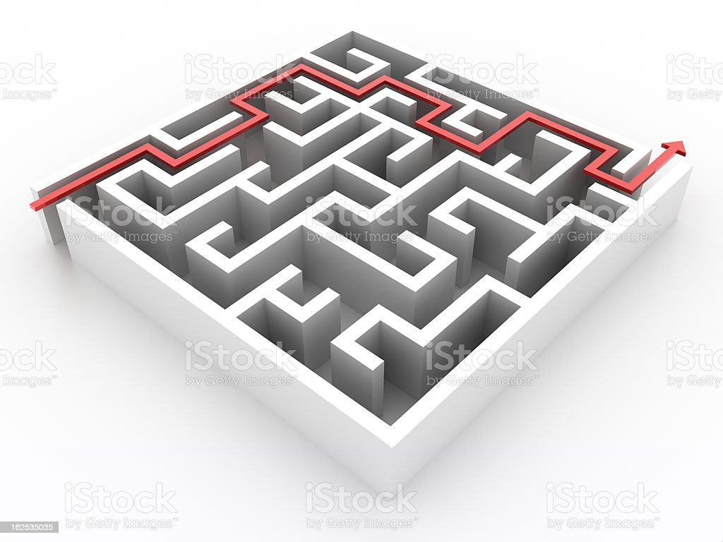 Red path across labyrinth (isolated on white) royalty-free stock photo