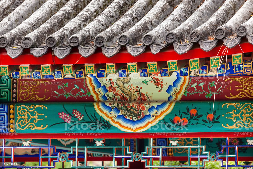 Red Pavilion Decorations Temple of Sun City Park Beijing, China stock photo