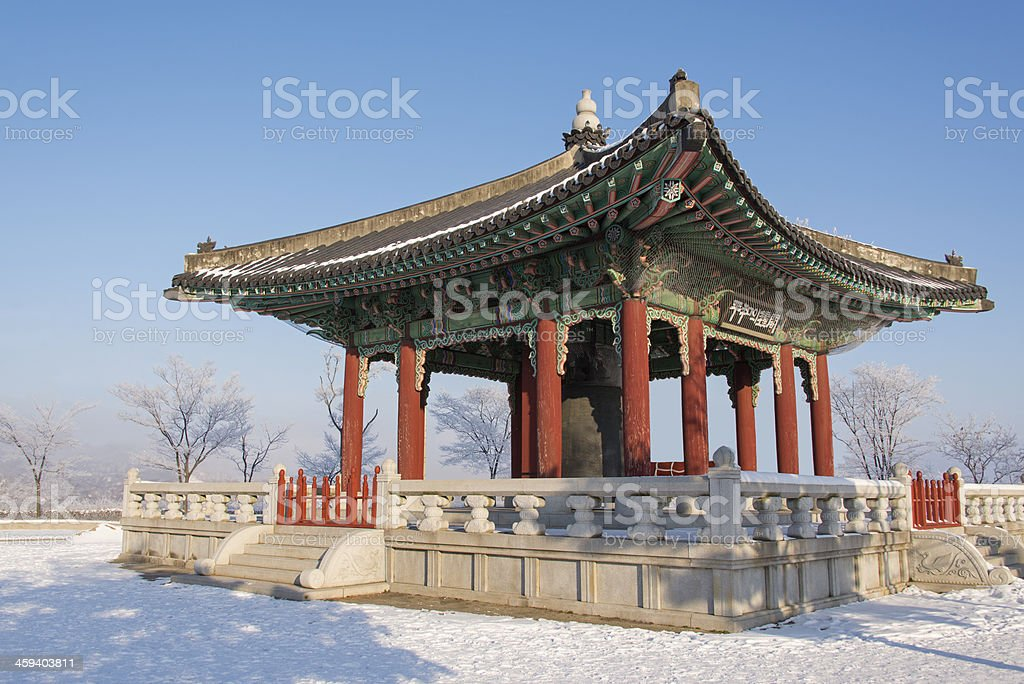 Red Pavilion in the Snow stock photo