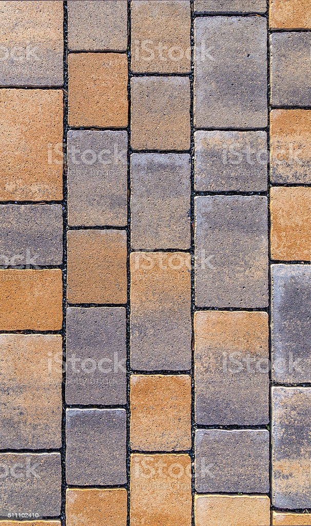 red Paving blocks made of square stone in bright light stock photo