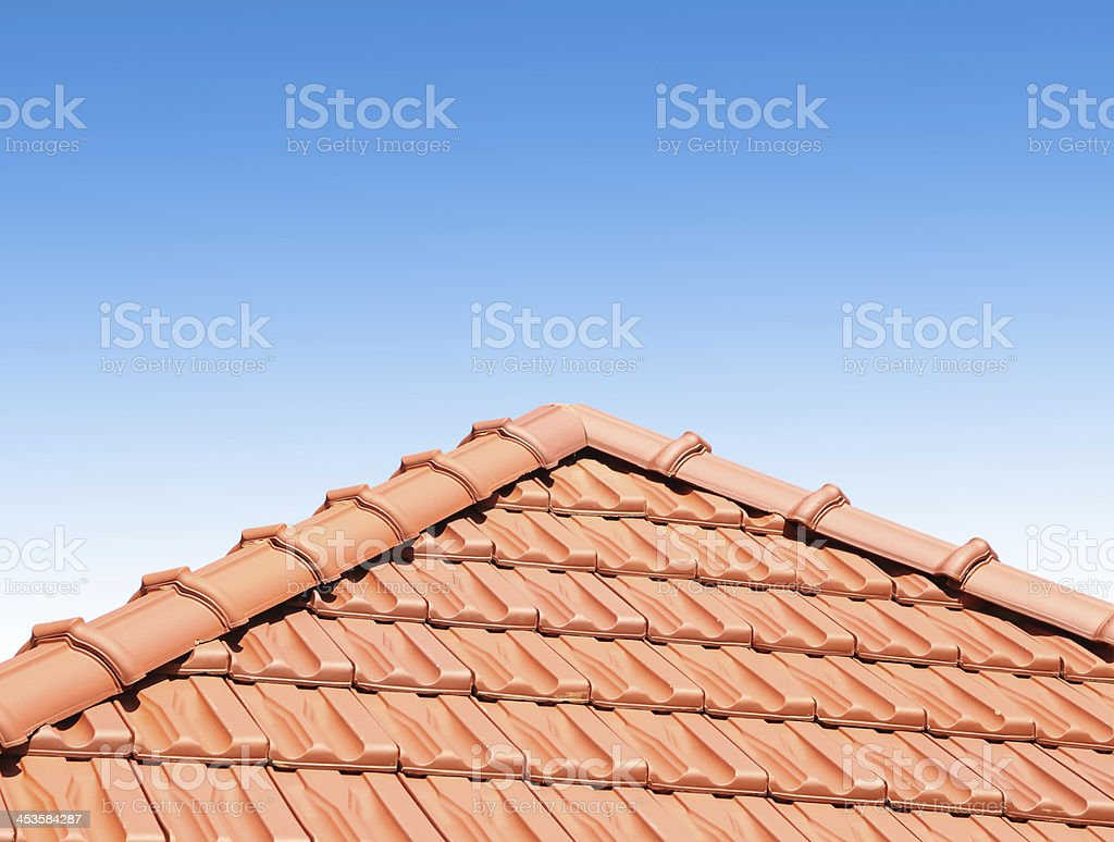 red peaked roof stock photo