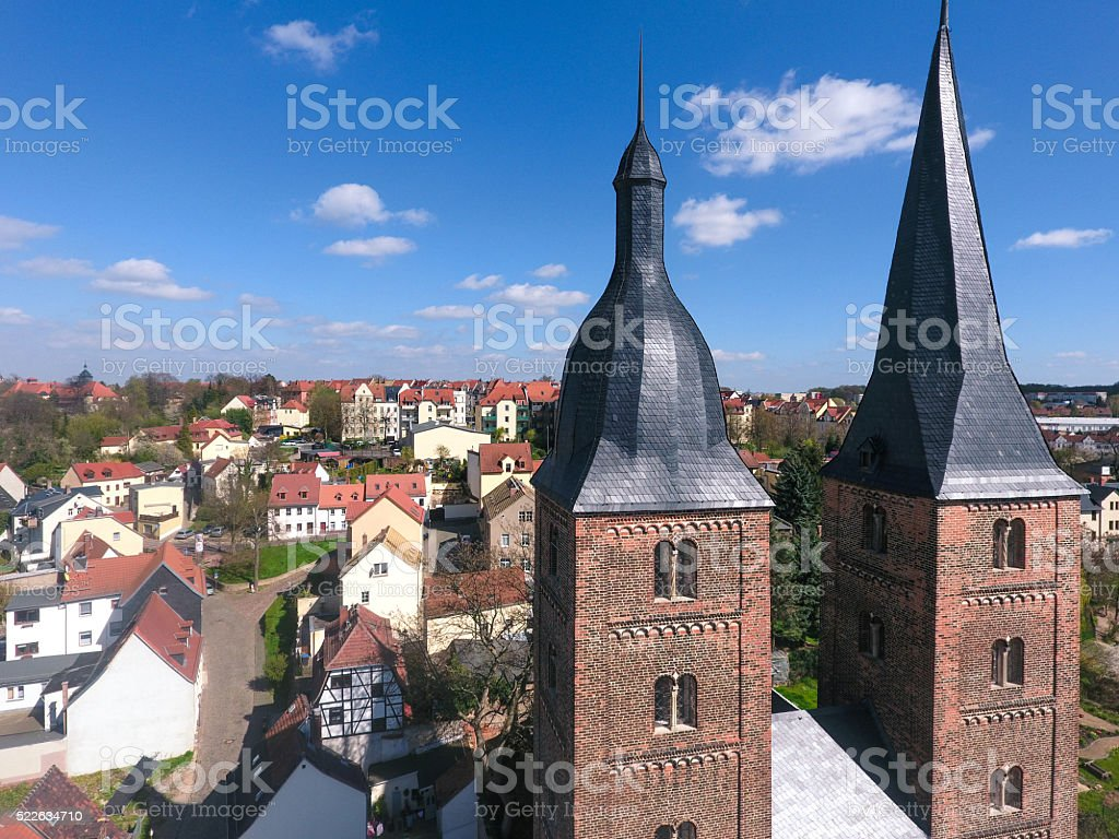 Rote Spitzen Altenburg medieval town red towers stock photo