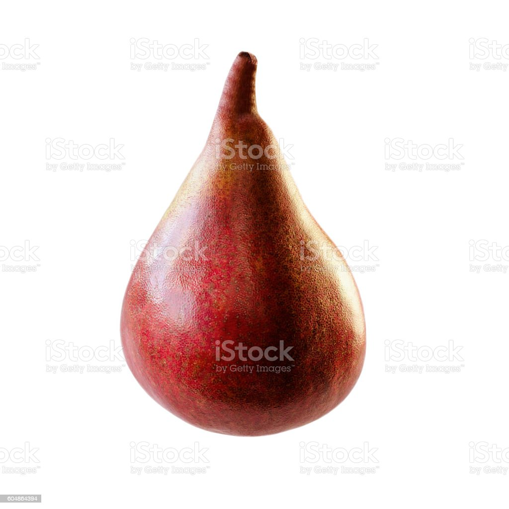 Red pear closeup isolated on white background stock photo