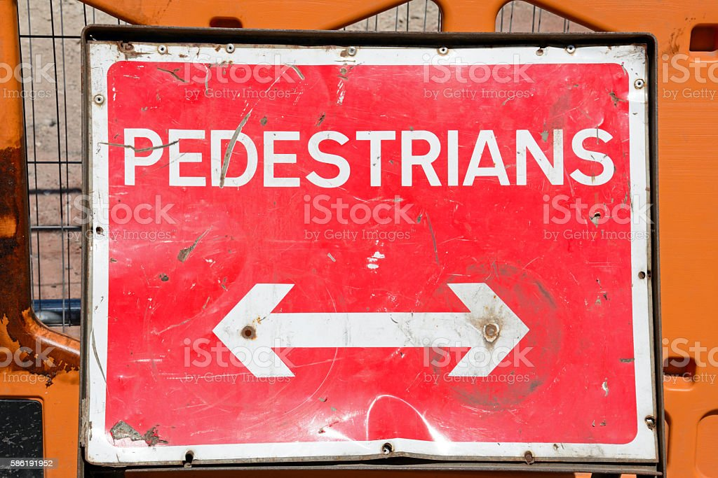 Red Pedestrian sign. stock photo