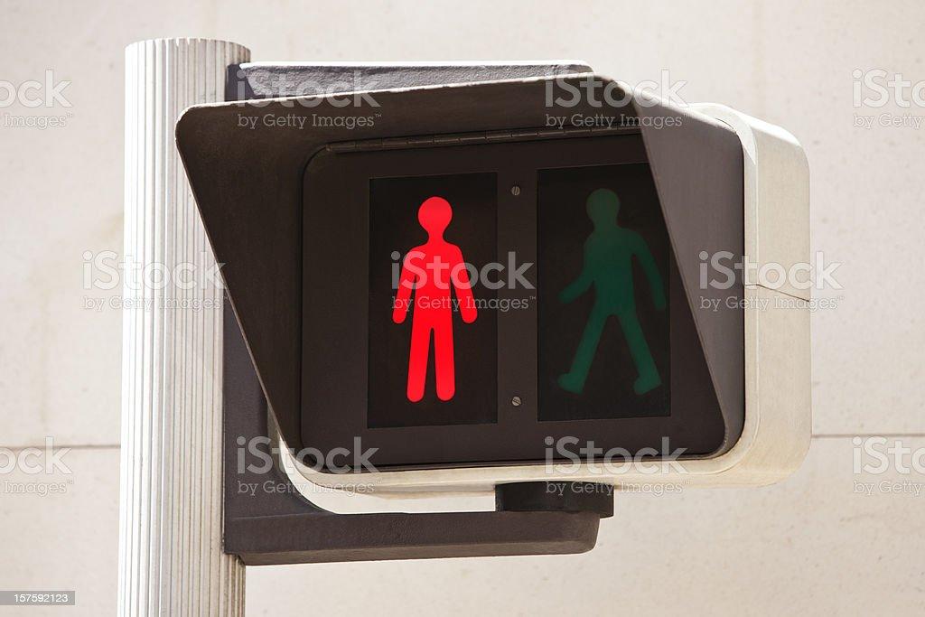 Red pedestrian traffic light stock photo
