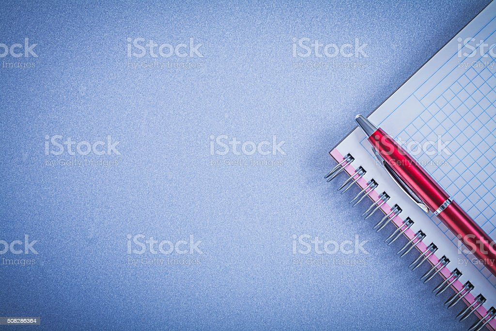 Red pen blank copybook copy space office concept stock photo