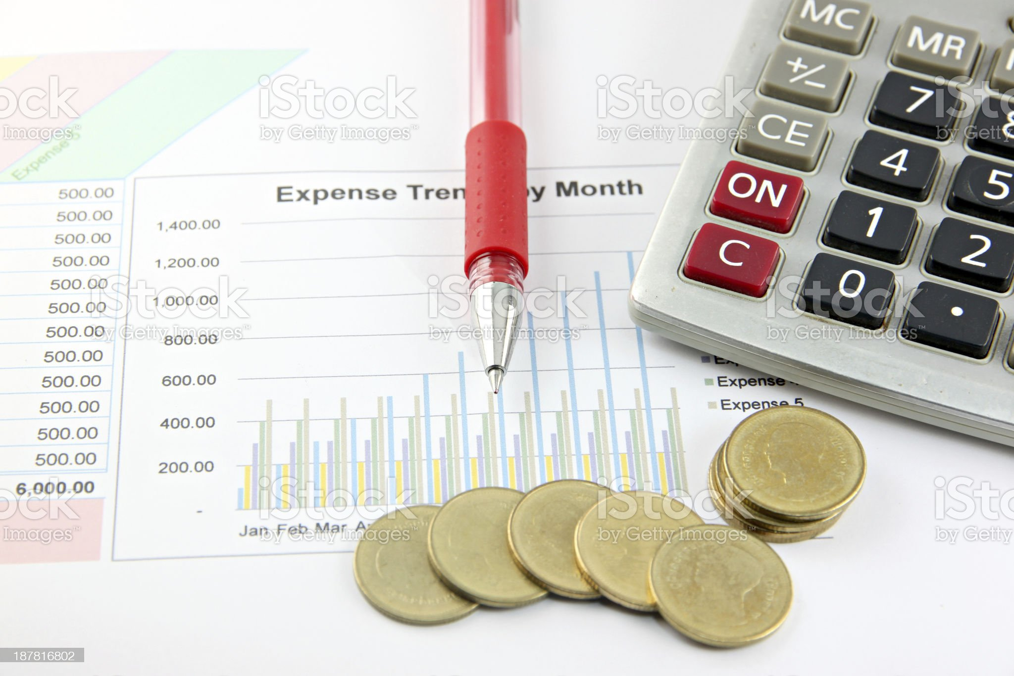 Red Pen,Calculator and money Coins on the Business graph. royalty-free stock photo