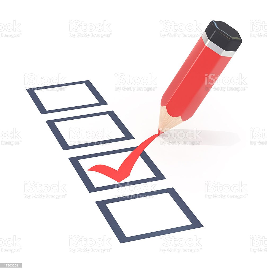 Red pencil and survey. stock photo