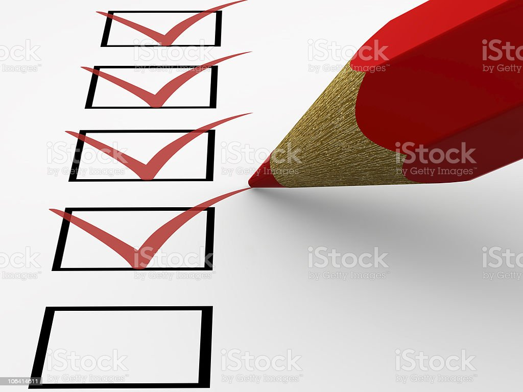 Red pencil highlighting various check boxes royalty-free stock photo