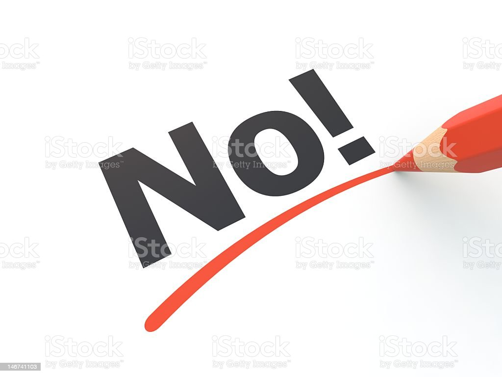 A red pencil underlining the word no on paper royalty-free stock photo