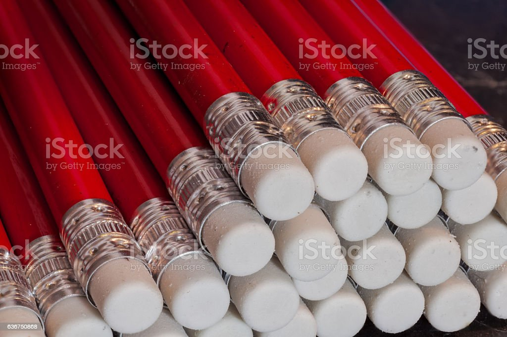 Red Pencil with white eraser top stock photo