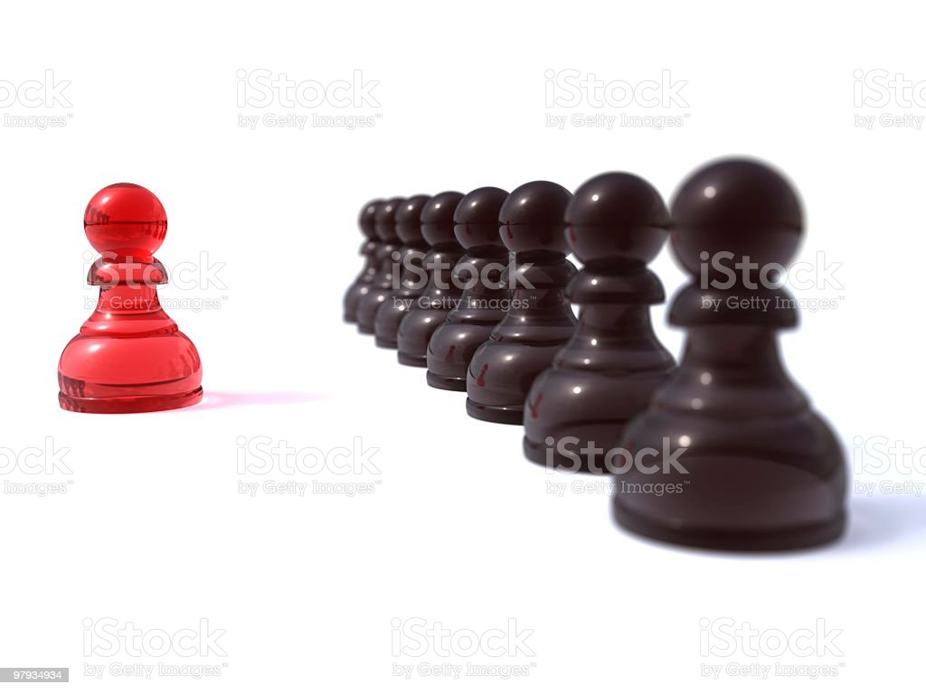 Red peon vs row stock photo
