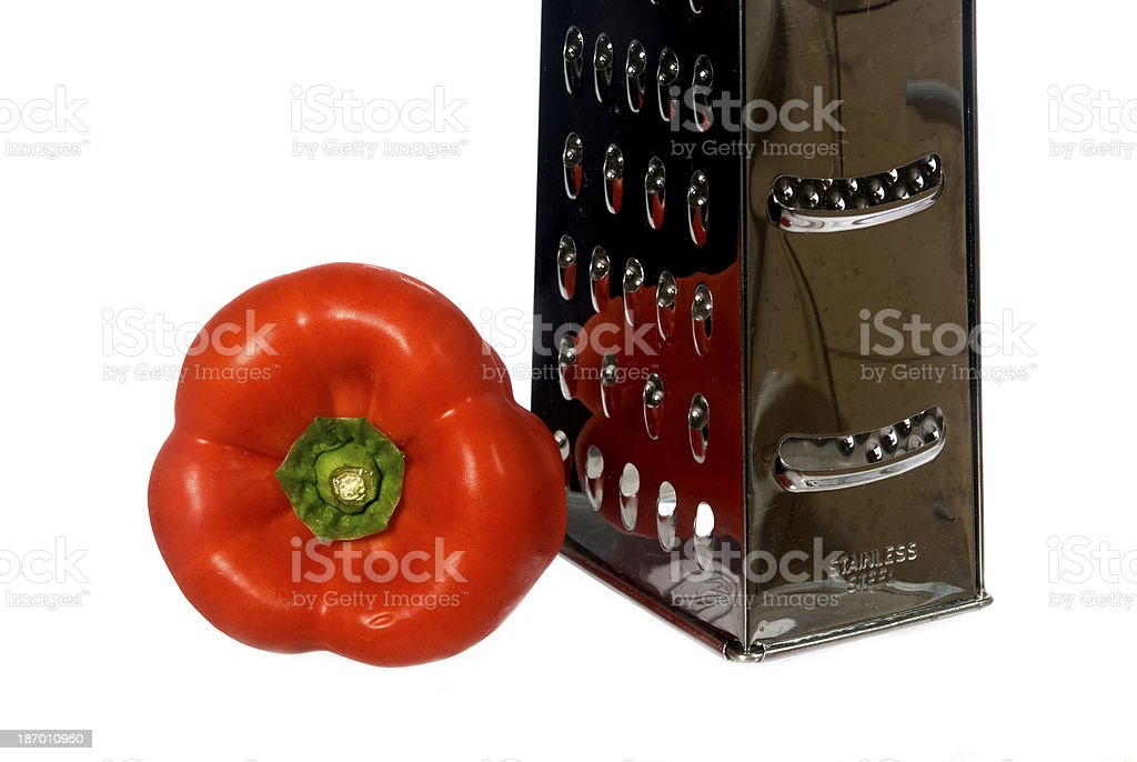red pepper and grater royalty-free stock photo