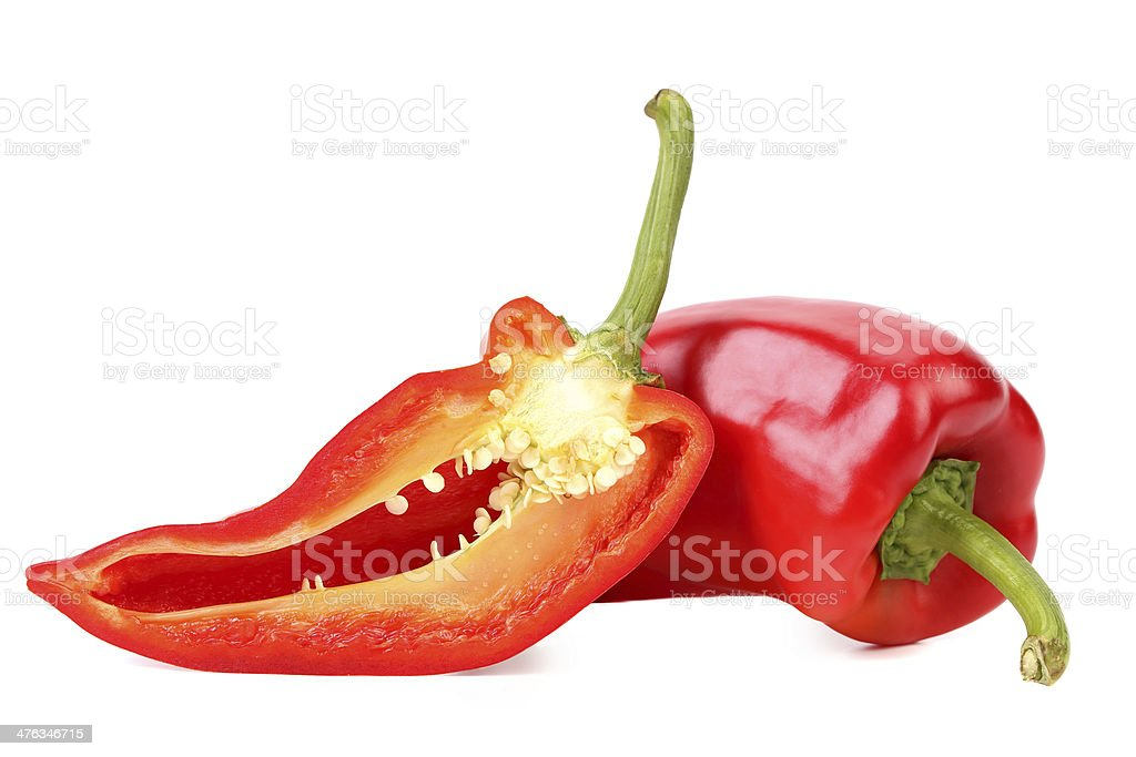 Red pepper and slice royalty-free stock photo