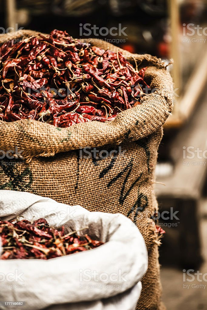 Red pepper at the asian market royalty-free stock photo