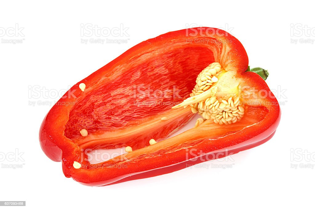 Red Pepper Cross Section stock photo