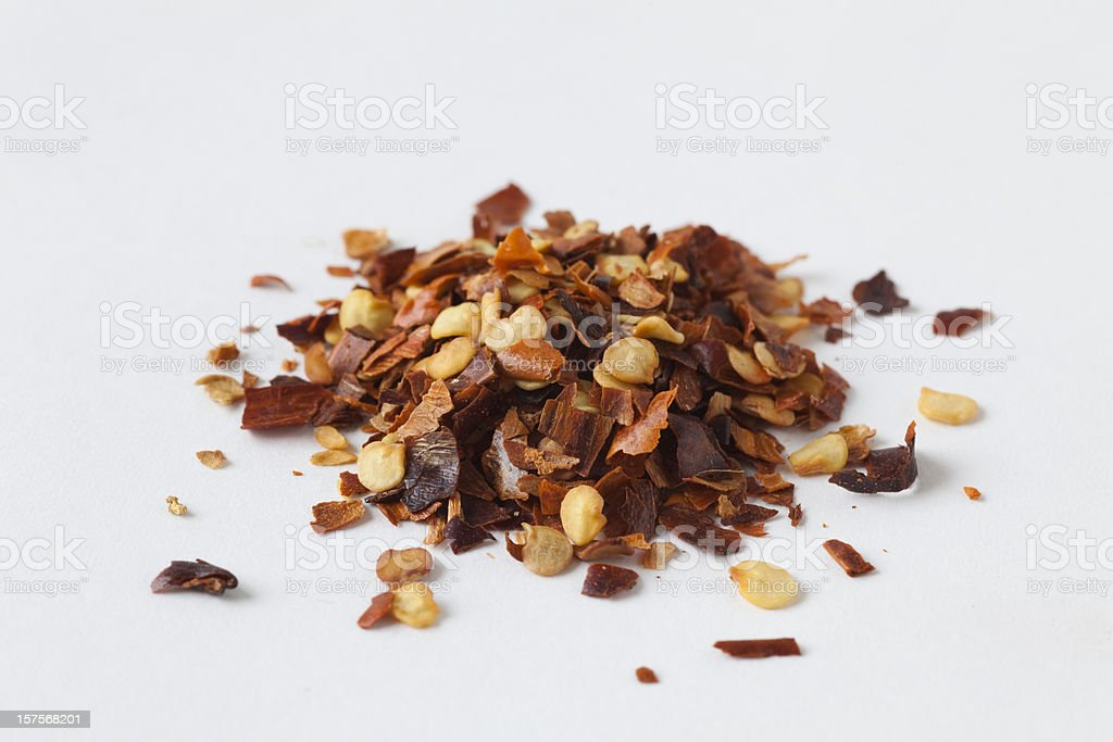 red pepper flakes stock photo