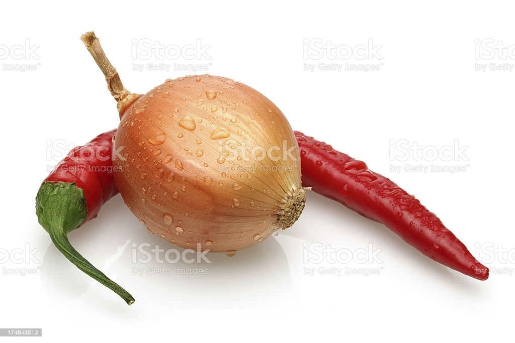 Red pepper, Onion royalty-free stock photo