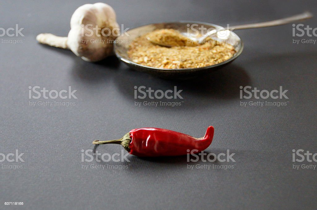 Red pepper, spices and garlic stock photo