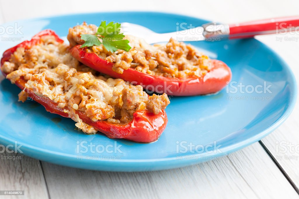 Red pepper stuffed with minced meat and cheese stock photo