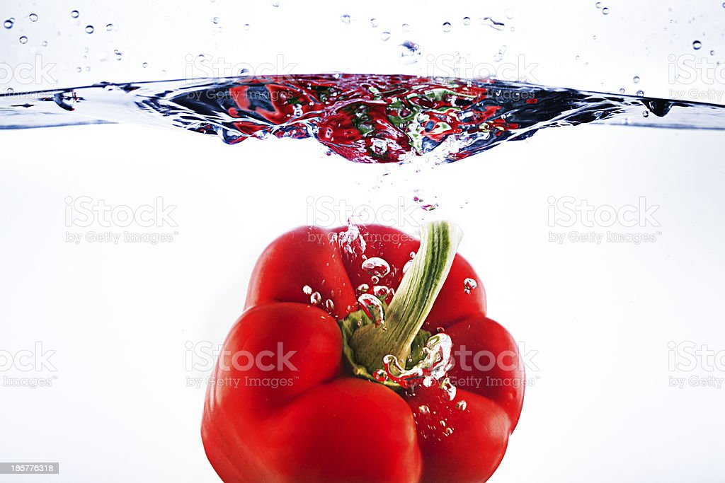 Red pepper under water royalty-free stock photo