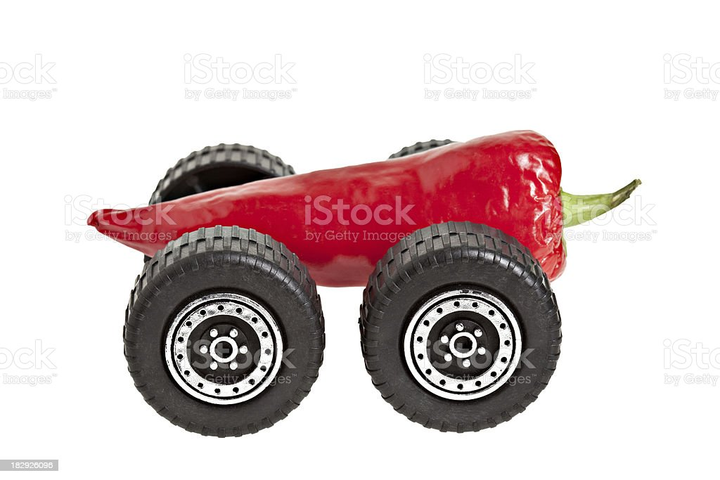 Red Pepper With Wheels stock photo