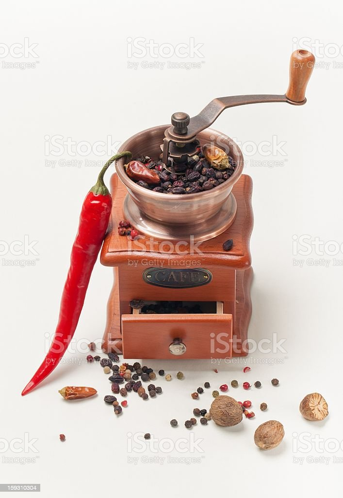 Red pepperand  and  pepper Mill royalty-free stock photo