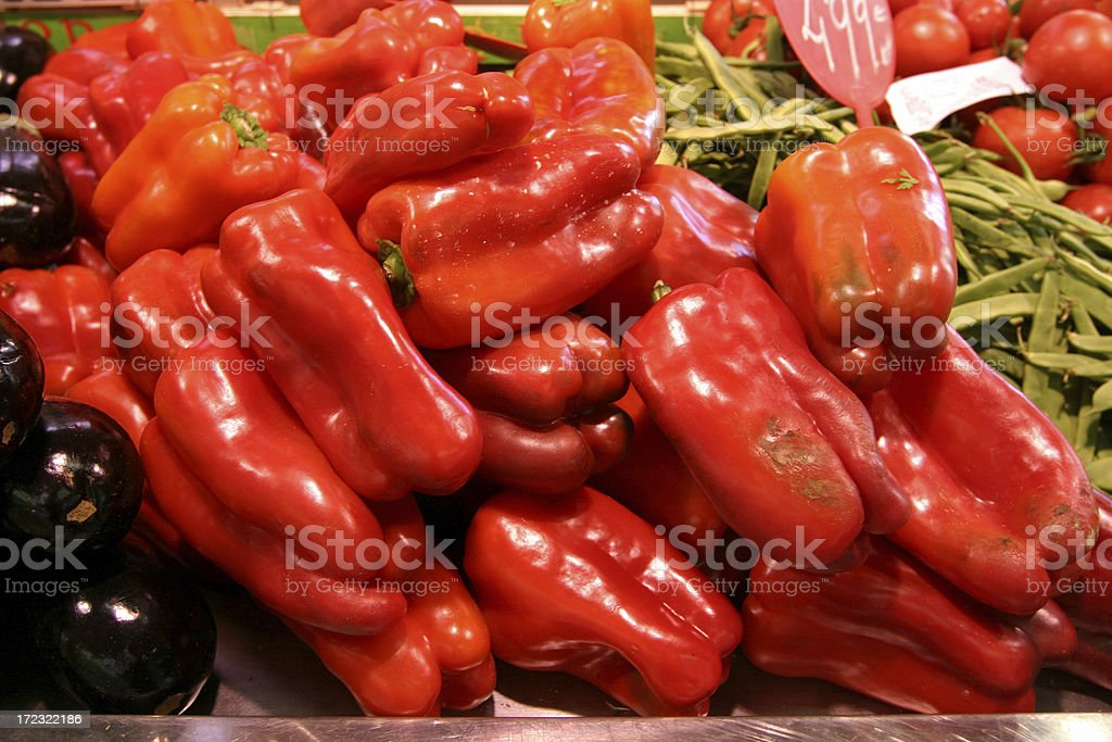 Red Peppers at Market royalty-free stock photo