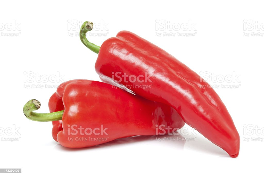 Red peppers isolated on white background stock photo