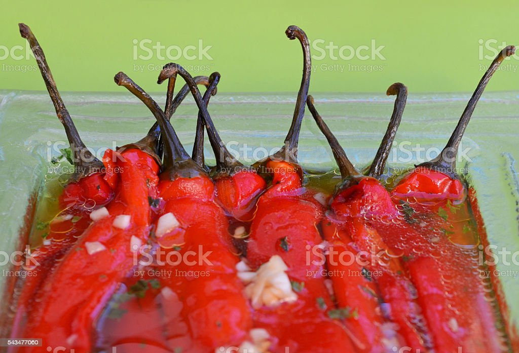 Red peppers salad stock photo