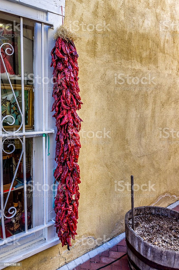 Red Peppers & Window in NM stock photo
