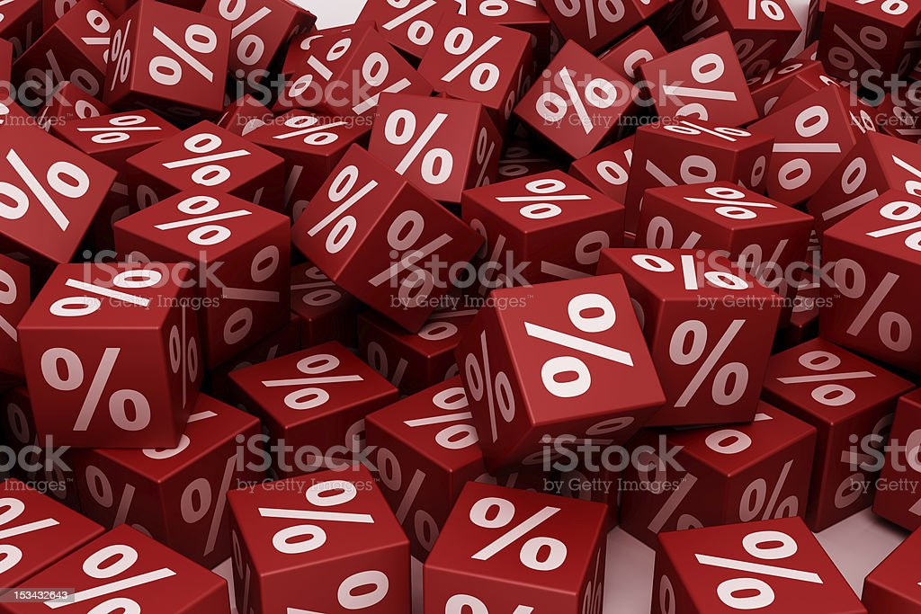 Red percent cubes royalty-free stock photo