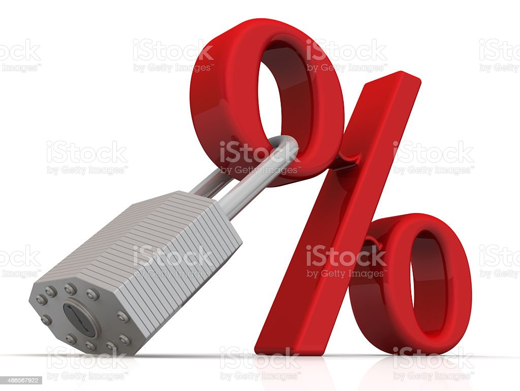 Red percent sign and a padlock stock photo