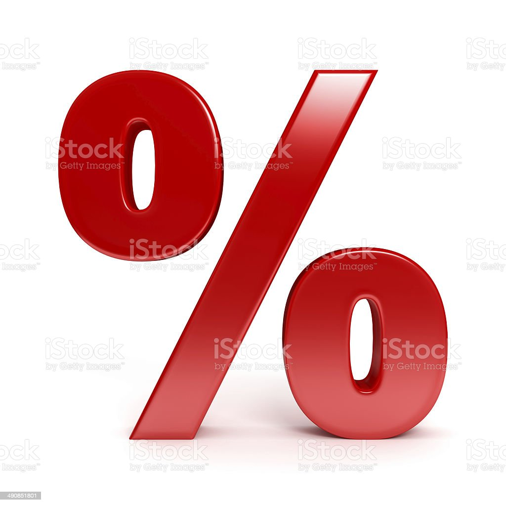 Red percent sign stock photo