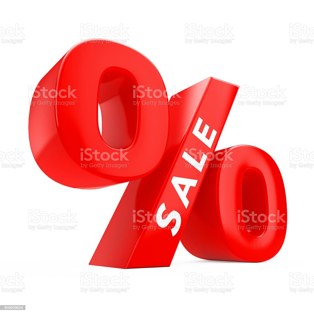 Red Percent Symbol with Sale Sign. 3d Rendering stock photo